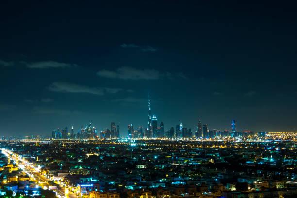 Skyline von Dubai Downtown bei Nacht – Foto