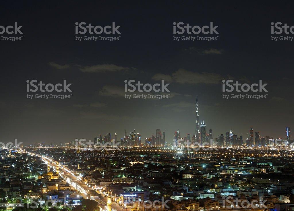 skyline of Dubai Downtown at night stock photo