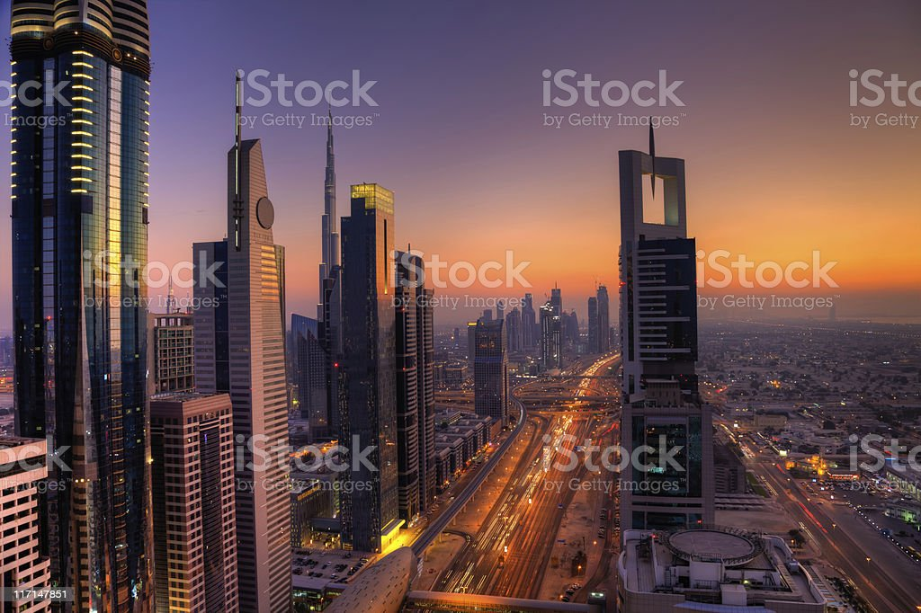 Skyline of Dubai Financial District royalty-free stock photo