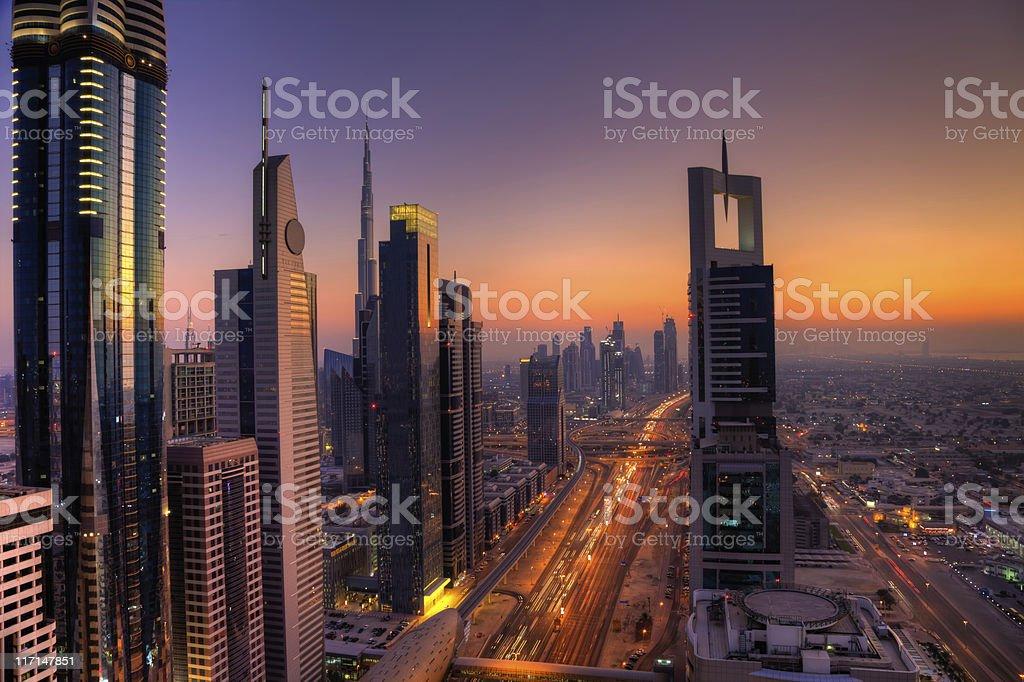 Skyline of Dubai Financial District stock photo