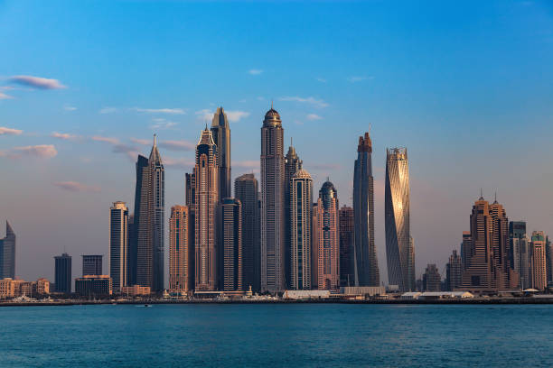 Skyline of Dubai Marina stock photo