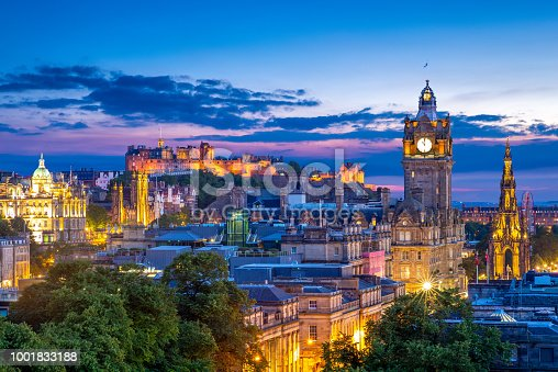 aerial view from calton hill, edinburgh, uk