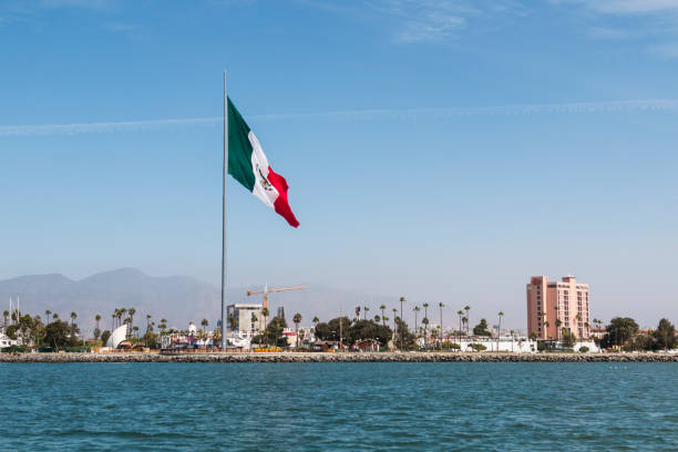 Skyline of Ensenada Harbor stock photo