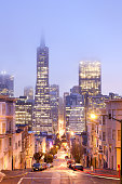San Francisco, California, United States - March 16, 2012: Skyline of Financial District at dusk.