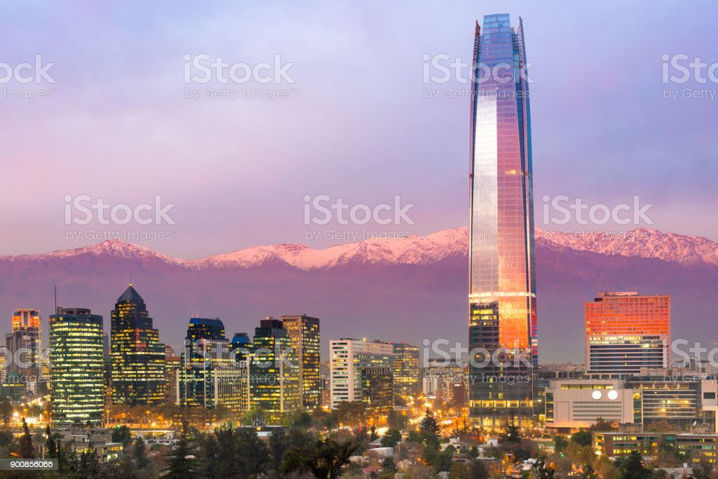 Skyline of financial district at Providencia stock photo