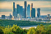 Skyline of the financial district of Moscow Russia on a sunny day. It is known as the Moscow International Business Center or Moscow City.