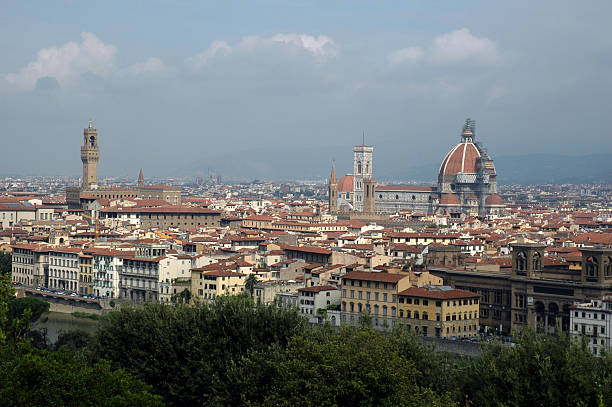 Skyline of Florence, Italy, with Arno River stock photo