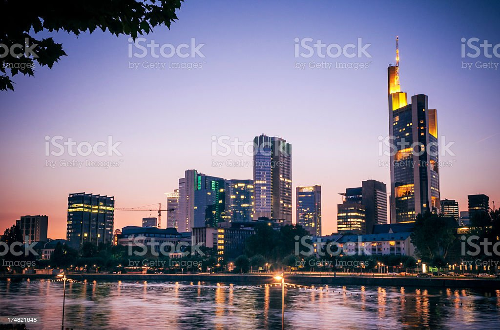 Skyline of Frankfurt am Main after sunset royalty-free stock photo