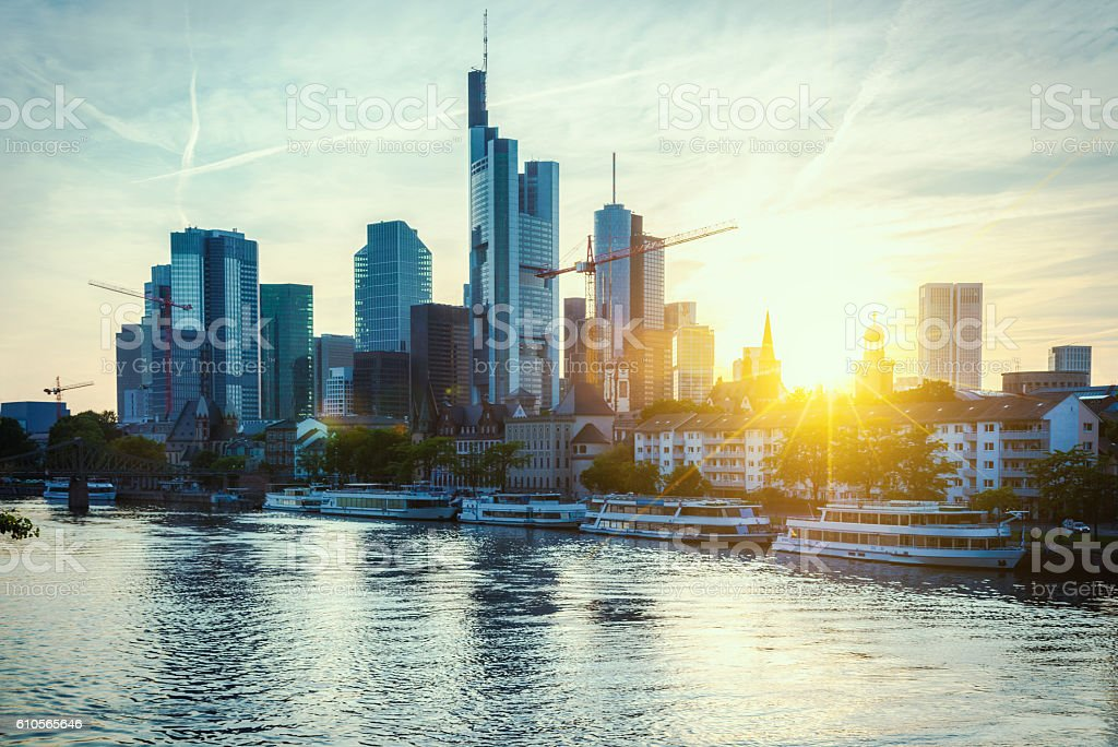 Skyline of Frankfurt am Main at sunset stock photo