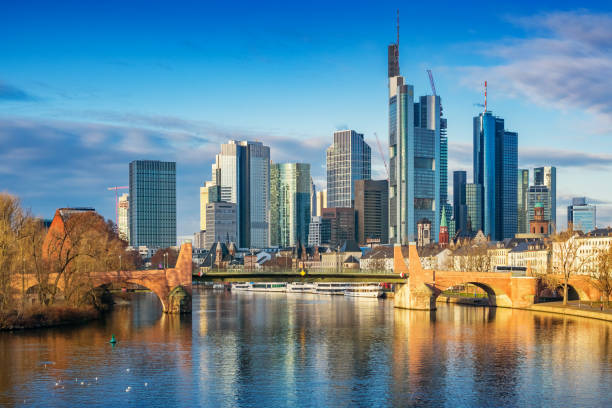 Skyline of Frankfurt am Main Germany Stock photograph of the skyline of Frankfurt am Main and River Main in Germany on a sunny day. AM stock pictures, royalty-free photos & images
