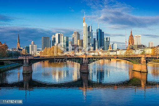 Stock photograph of the skyline of Frankfurt am Main and River Main in Germany on a sunny day.