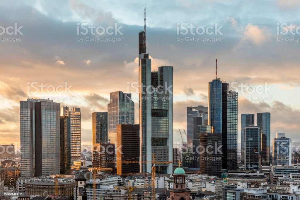 skyline of Frankfurt am Main in the evening stock photo