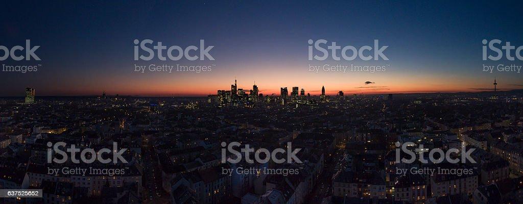 Skyline of Frankfurt at dusk stock photo