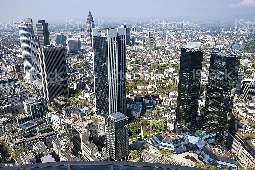 Skyline of Frankfurt - Royalty-free Aerial View Stock Photo