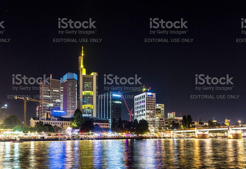 skyline of Frankfurt with people enjoying the museum festival royalty-free stock photo
