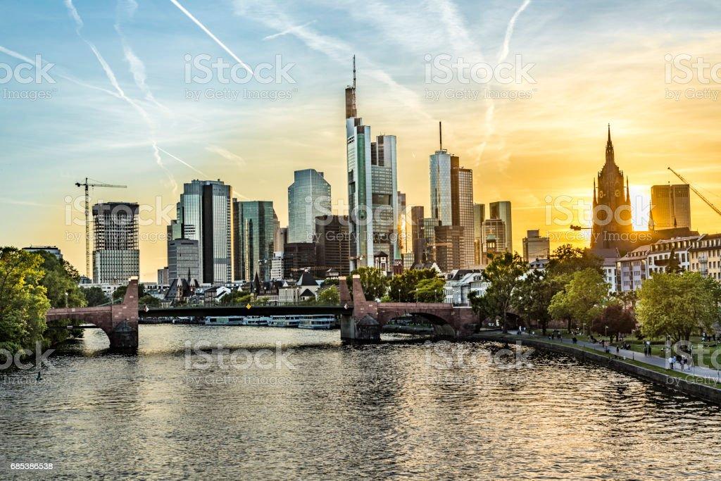 skyline of Frankfurt with river Main royalty-free stock photo
