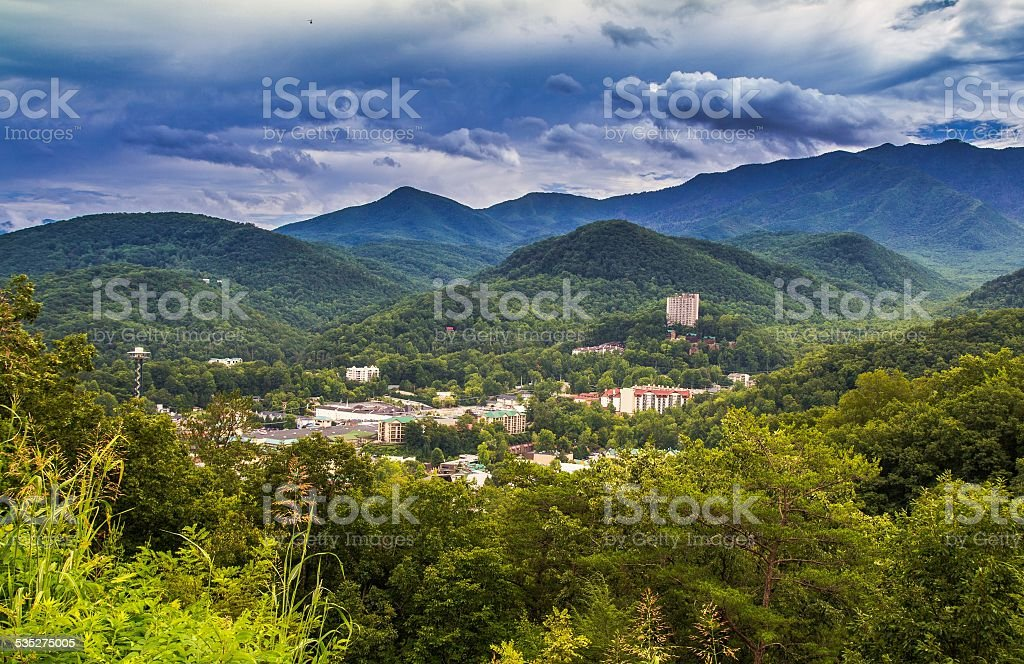 Skyline Of Gatlinburg Tennessee With A Great Smoky Mountain Background stock photo