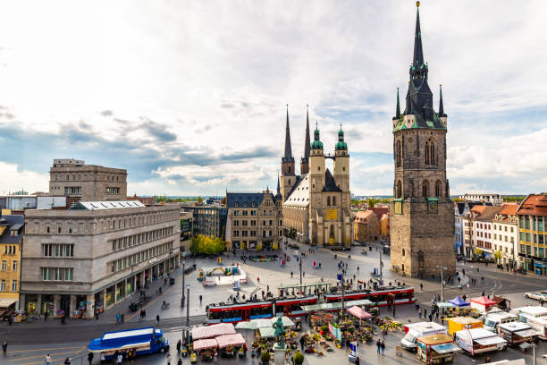 Skyline of Halle an der Saale, Germany stock photo