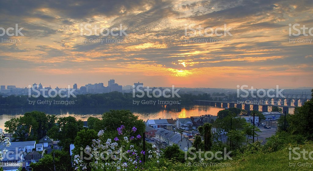 Skyline of Harrisburg Pennsylvania during sunrise  stock photo