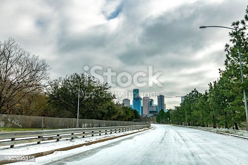 The deserted streets of downtown Houston, Texas during the unusual and record cold brought by a strong winter storm in February 2021.