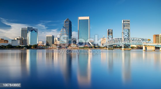 The Skyline of Jacksonville with beautiful Reflections in the Water