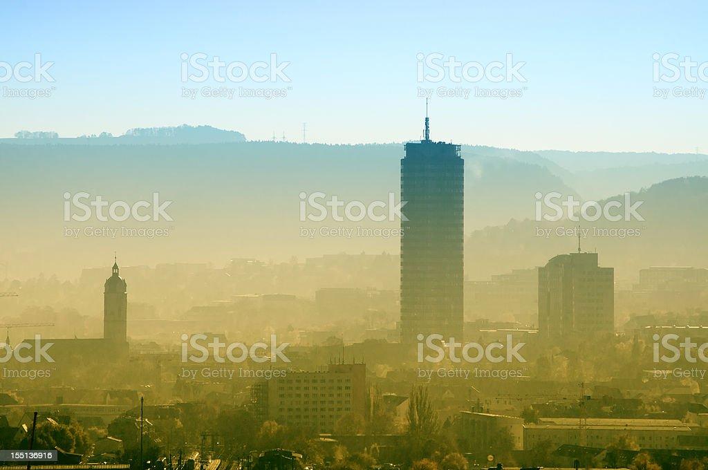 Skyline of Jena / Germany in dusty morning stock photo