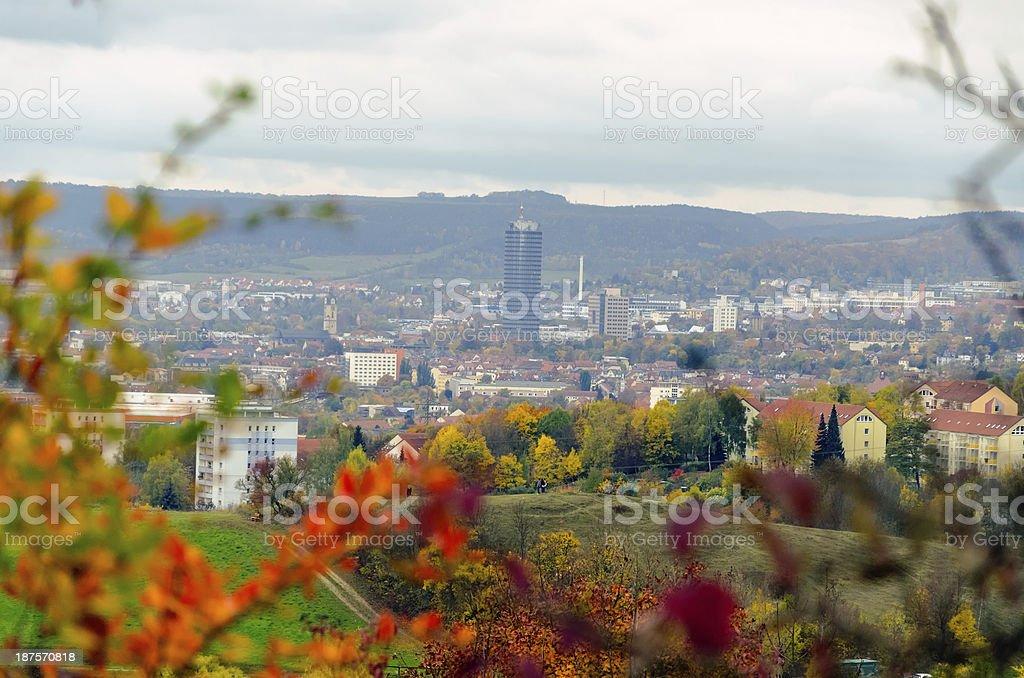 Skyline of Jena / Germany in fall stock photo