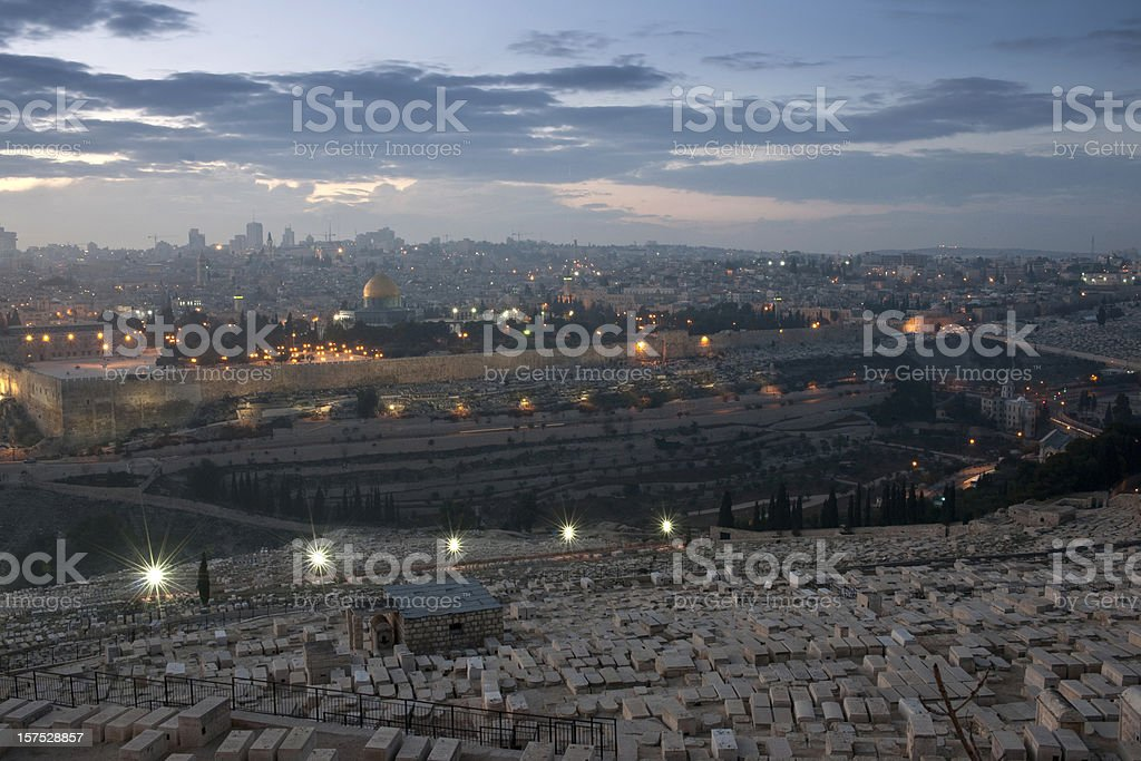 Skyline of Jerusalem by twilight royalty-free stock photo