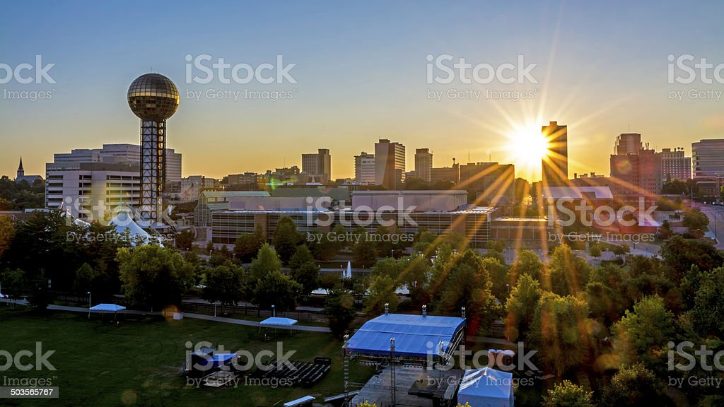 Skyline of Knoxville from UT ccampus stock photo