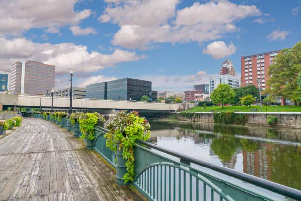 Skyline of Lansing Michigan stock photo