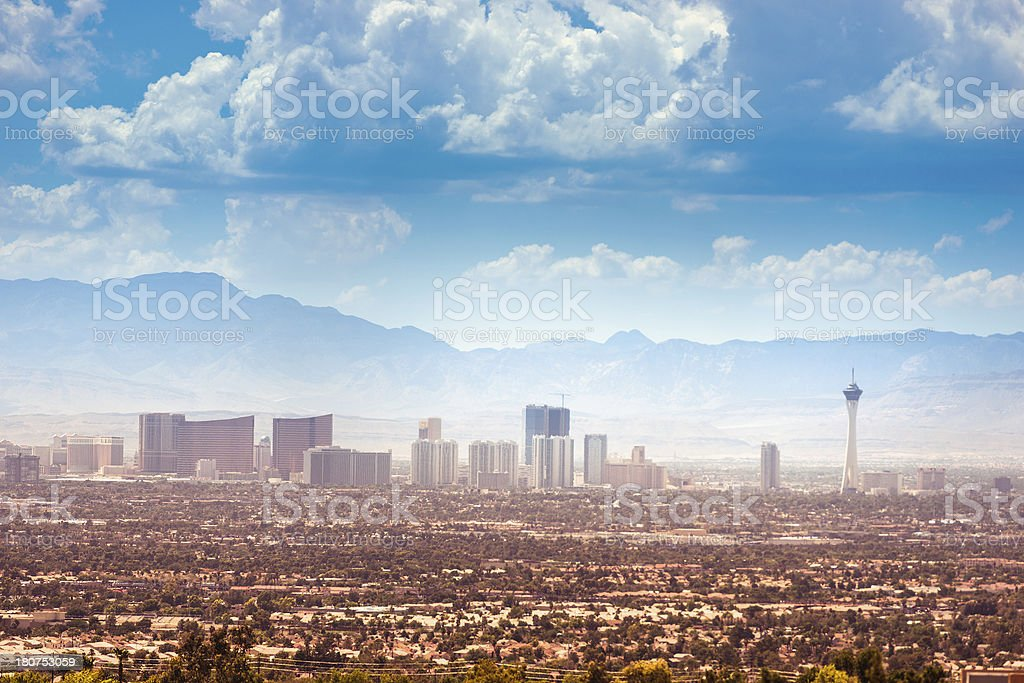 Skyline of Las Vegas city stock photo