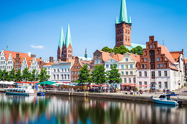 Skyline of Lübeck stock photo