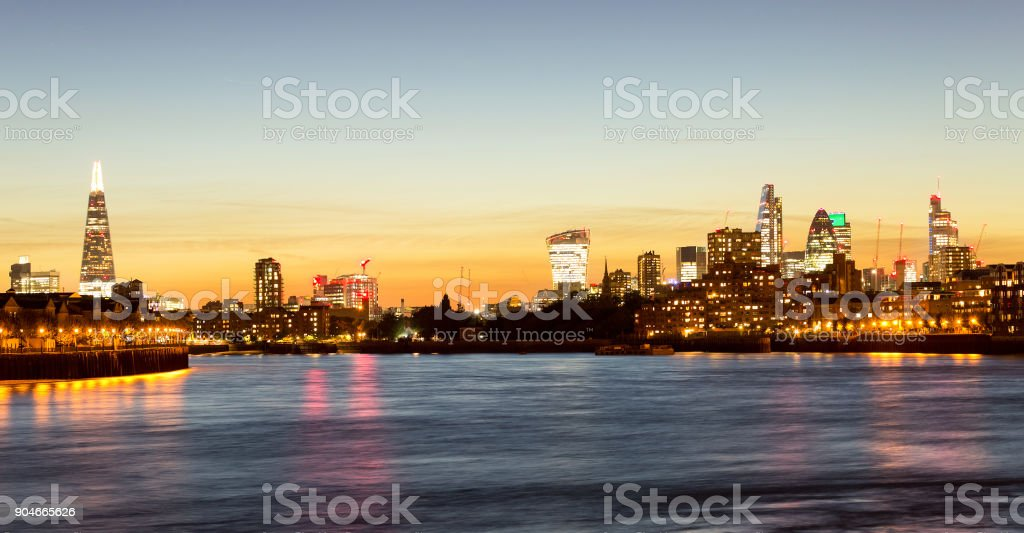 Skyline of London from Canary Wharf stock photo