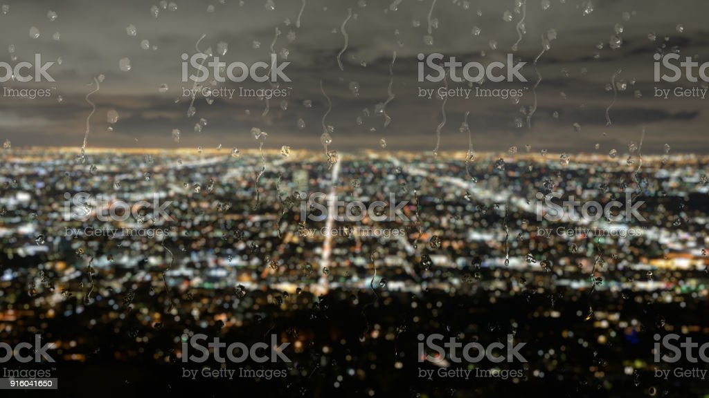 Skyline of Los Angeles in the rain stock photo