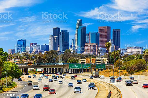 Skyline Of Los Angeles With Freeway Trafficca Stock Photo - Download Image Now