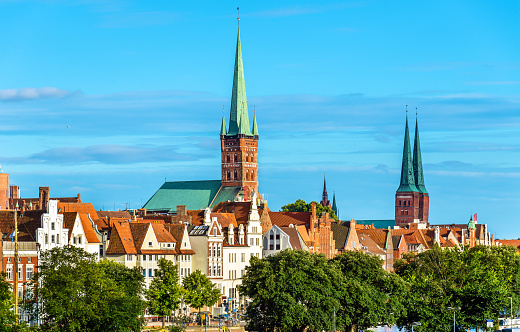 Skyline of Lubeck with St. Peter's Church and the