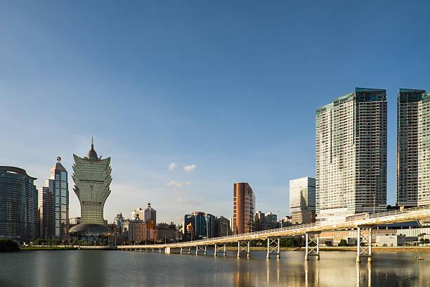 Skyline of Macau city stock photo