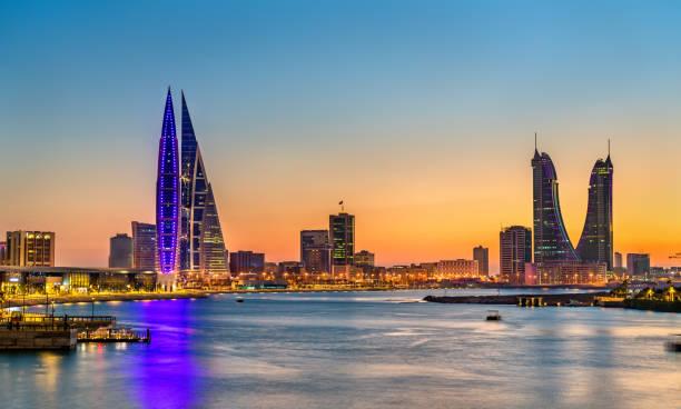Skyline of Manama at sunset. The Kingdom of Bahrain stock photo