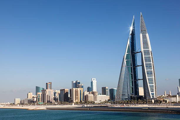 Skyline of Manama, Bahrain stock photo