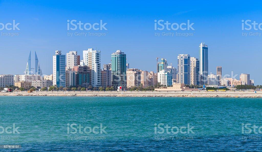 Skyline of Manama city, Bahrain, Middle East stock photo