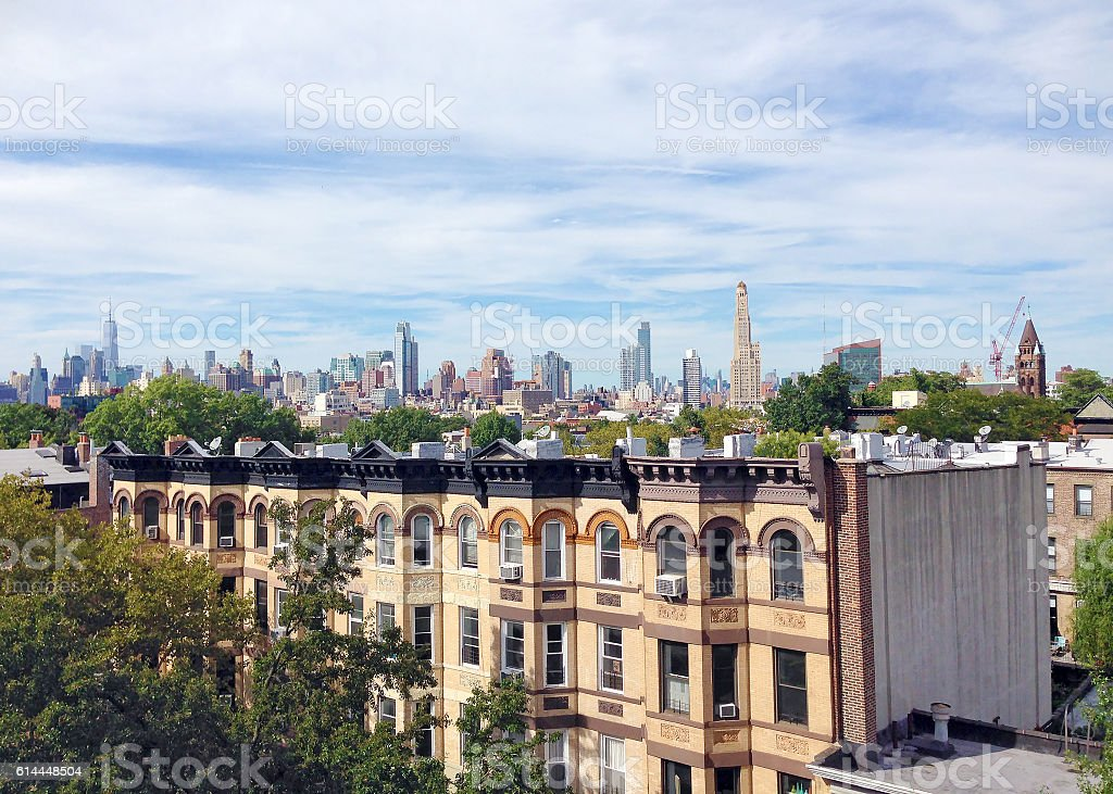 Skyline of Manhattan from Park Slope, Brooklyn View of the Manhattan skyline from a rooftop in Park Slope, Brooklyn Aerial View Stock Photo