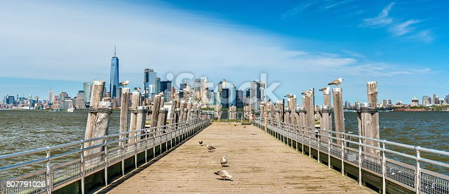 istock Skyline of Manhattan from the Old Ferry Dock on Liberty Island 807791026