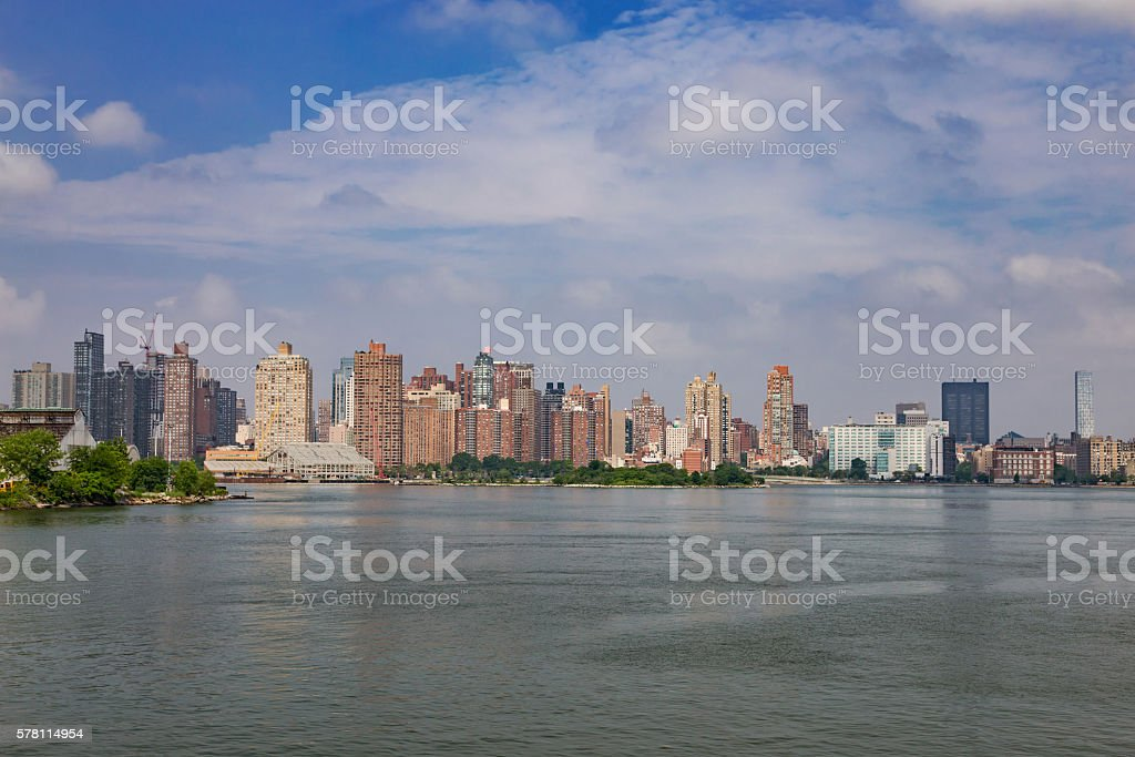 Skyline of Manhattan Upper East Side and East River, NYC. stock photo