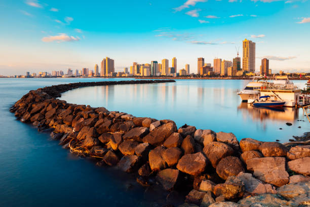 Skyline of Manila City and Manila Bay, Philippines