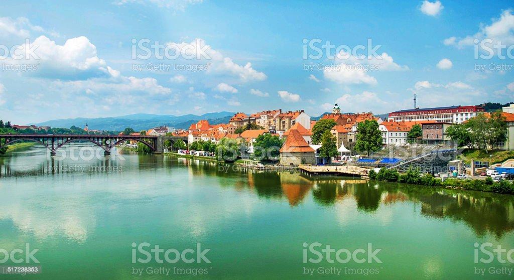 Skyline of Maribor Slovenia stock photo