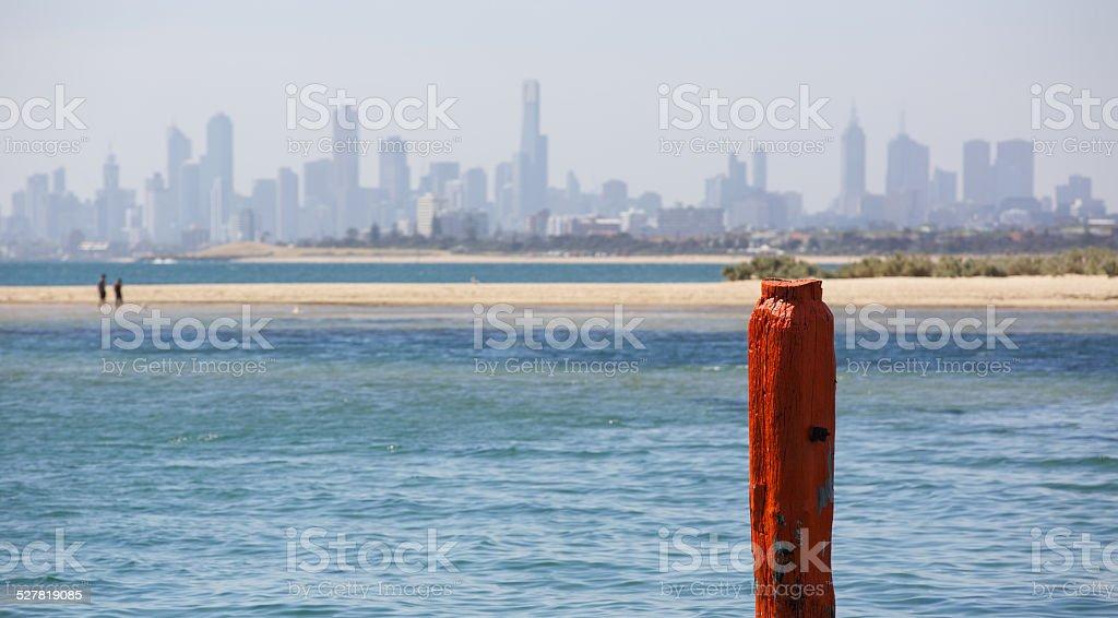 Skyline of Melbourne Australia from Brighton Beach - Victoria stock photo