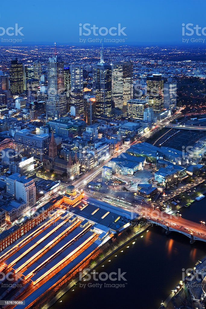 Skyline of Melbourne, Australia photographed from above at night royalty-free stock photo