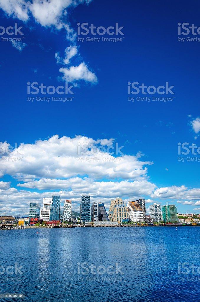 Skyline of modern business district in Oslo, Norway, Scandinavia stock photo