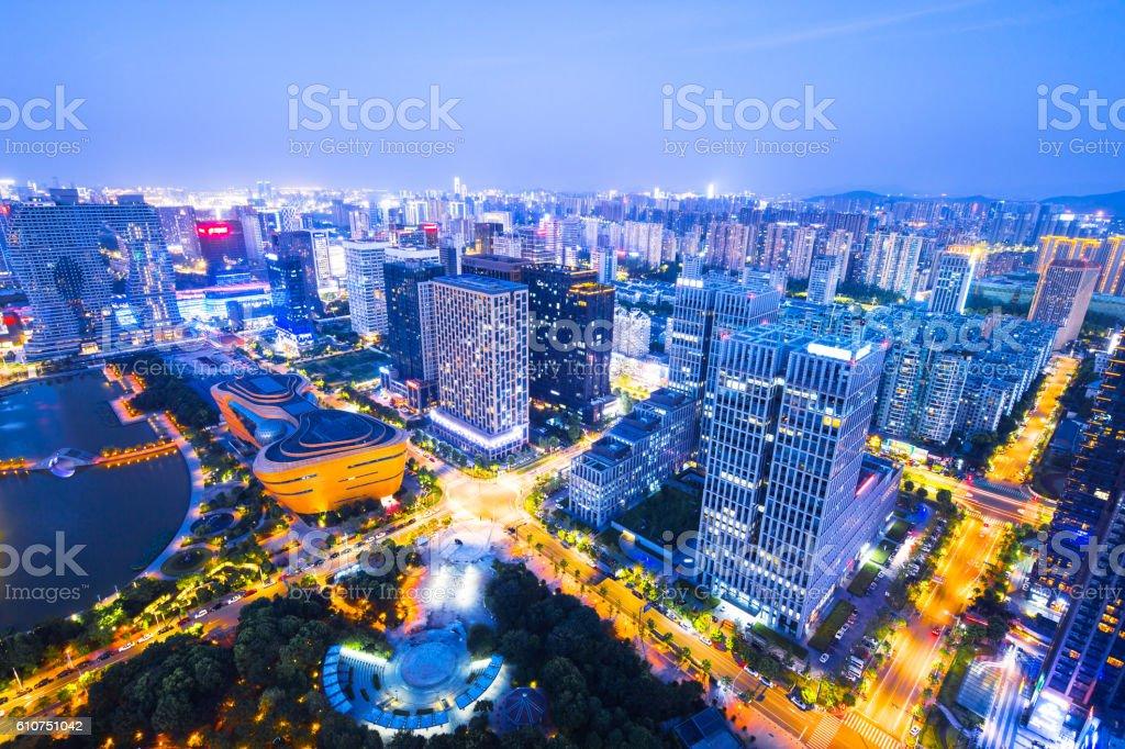 skyline of modern city at night in hangzhou stock photo