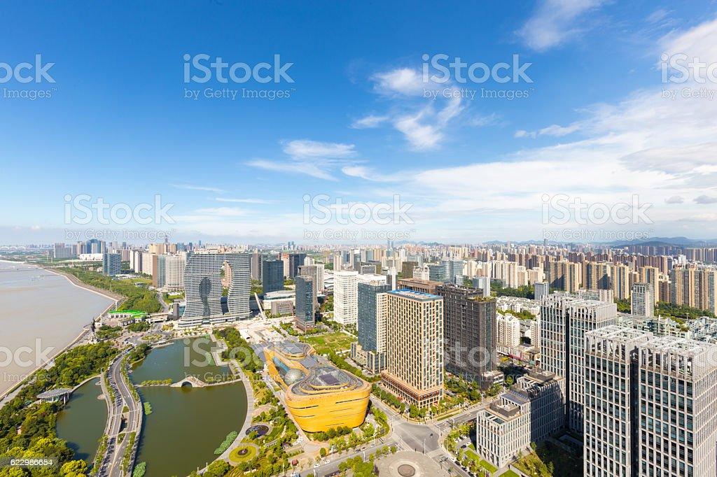 skyline of modern city in hangzhou with blue sky stock photo